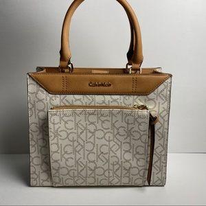 Calvin Klein monogram  leather Satchel Bag